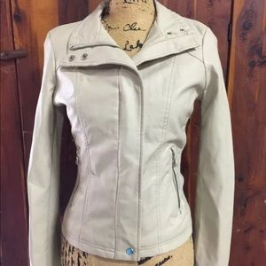 Therapy Jacket By Lane Crawford Beige Leather Med